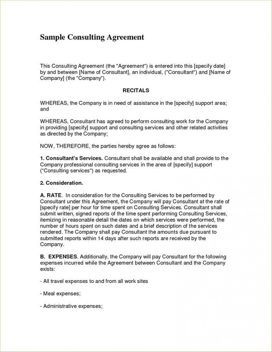 004 Fearsome Consulting Service Agreement Template Image  Master Contract Example Level Sample