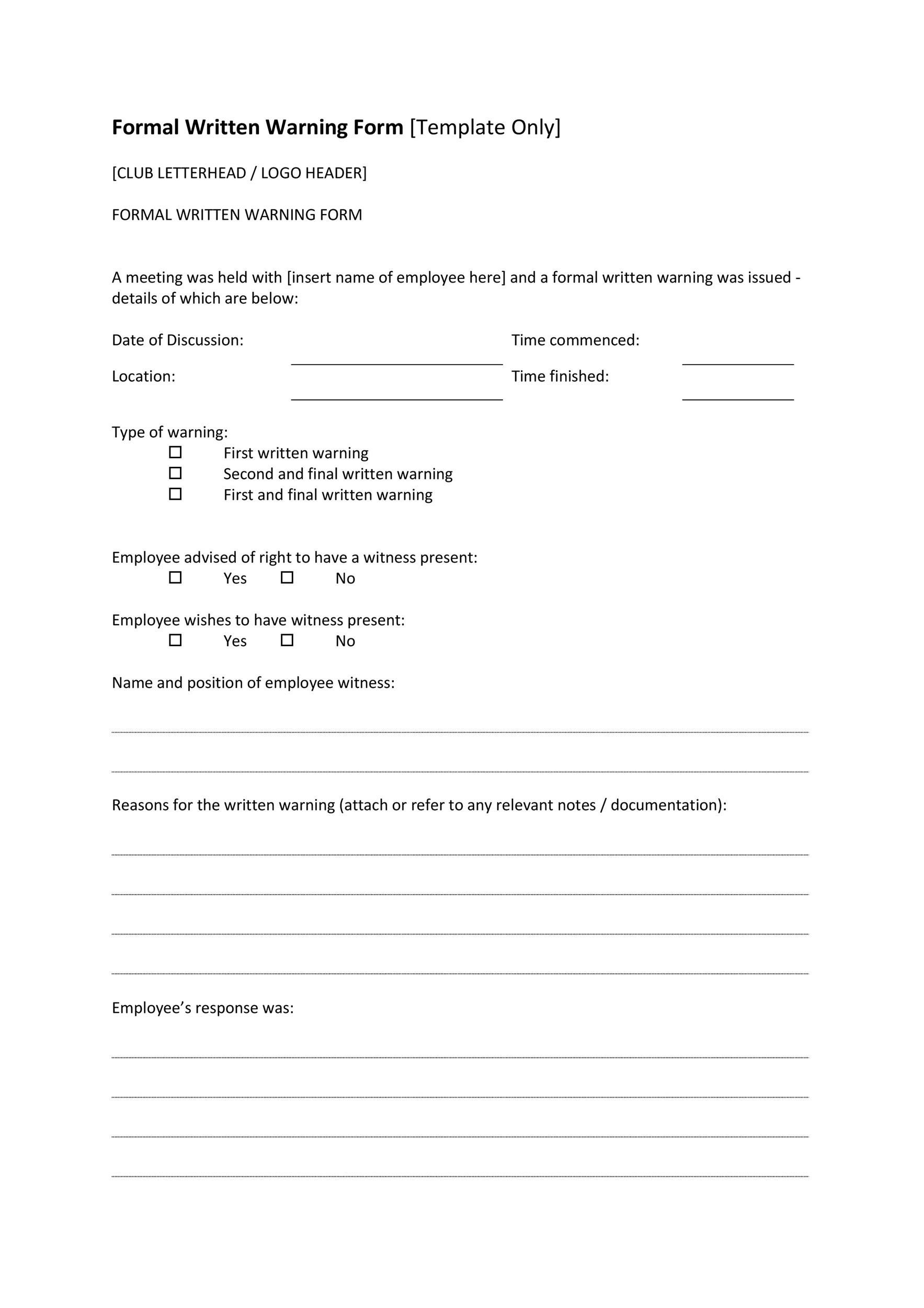 004 Fearsome Employee Write Up Template Picture  Templates Form Google Doc SheetFull