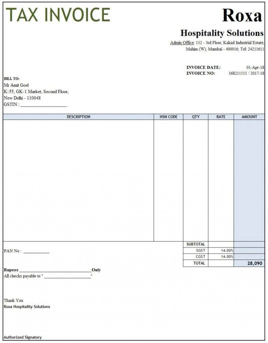004 Fearsome Excel Invoice Template Gst Free Download Picture Large