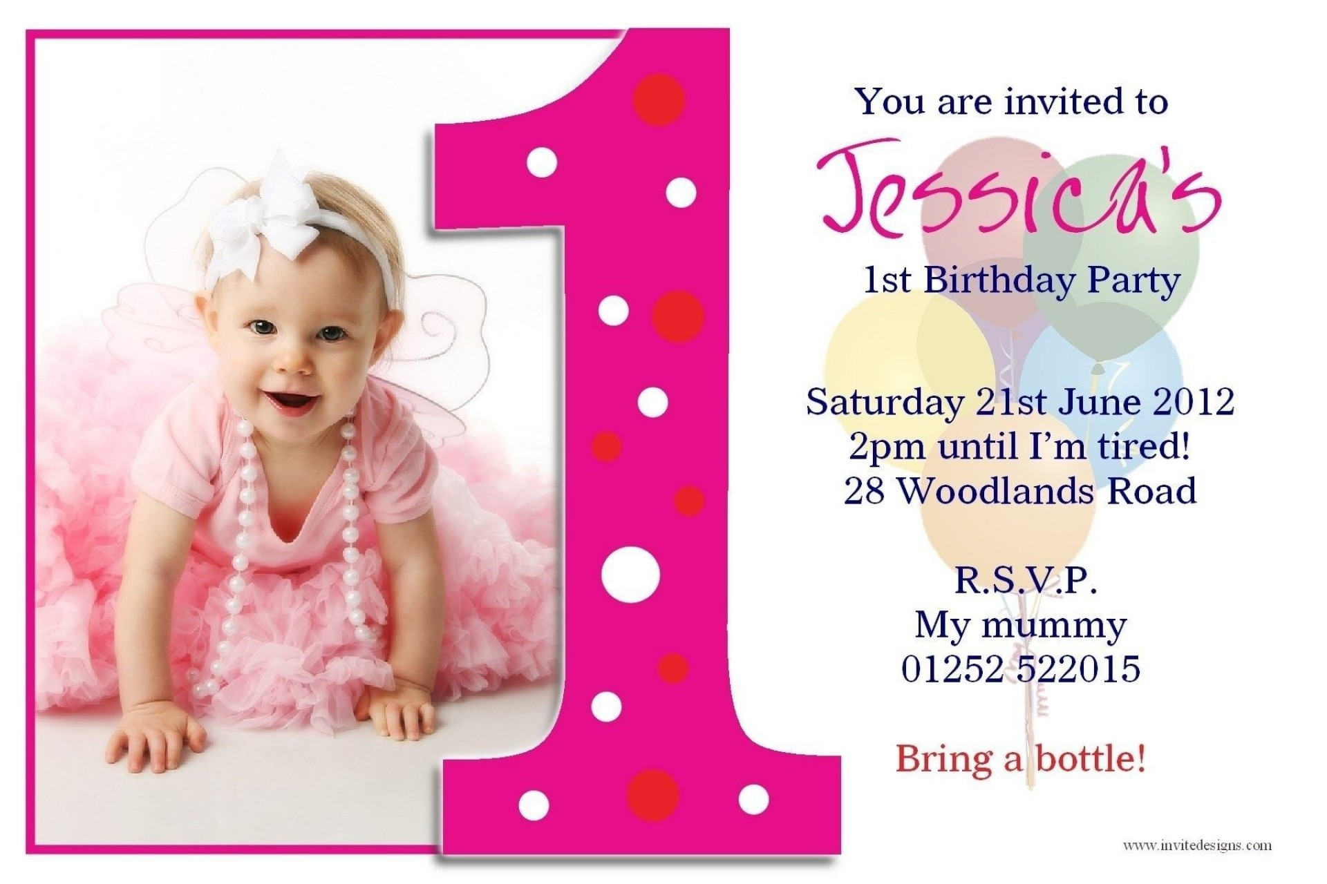 004 Fearsome Free 1st Birthday Invitation Template For Word High Def 1920