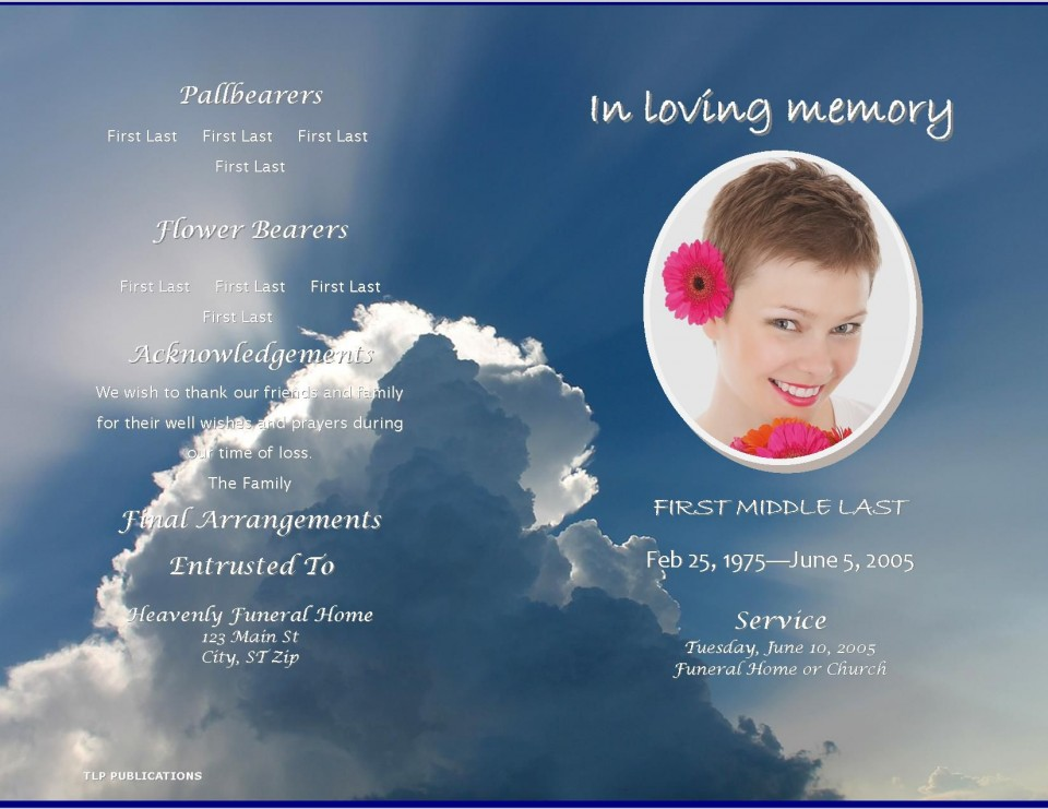 004 Fearsome Free Celebration Of Life Program Template Download Highest Clarity 960