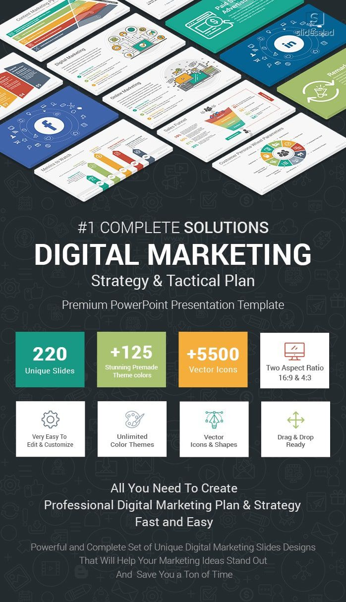 004 Fearsome Free Digital Marketing Plan Template Ppt Design Full