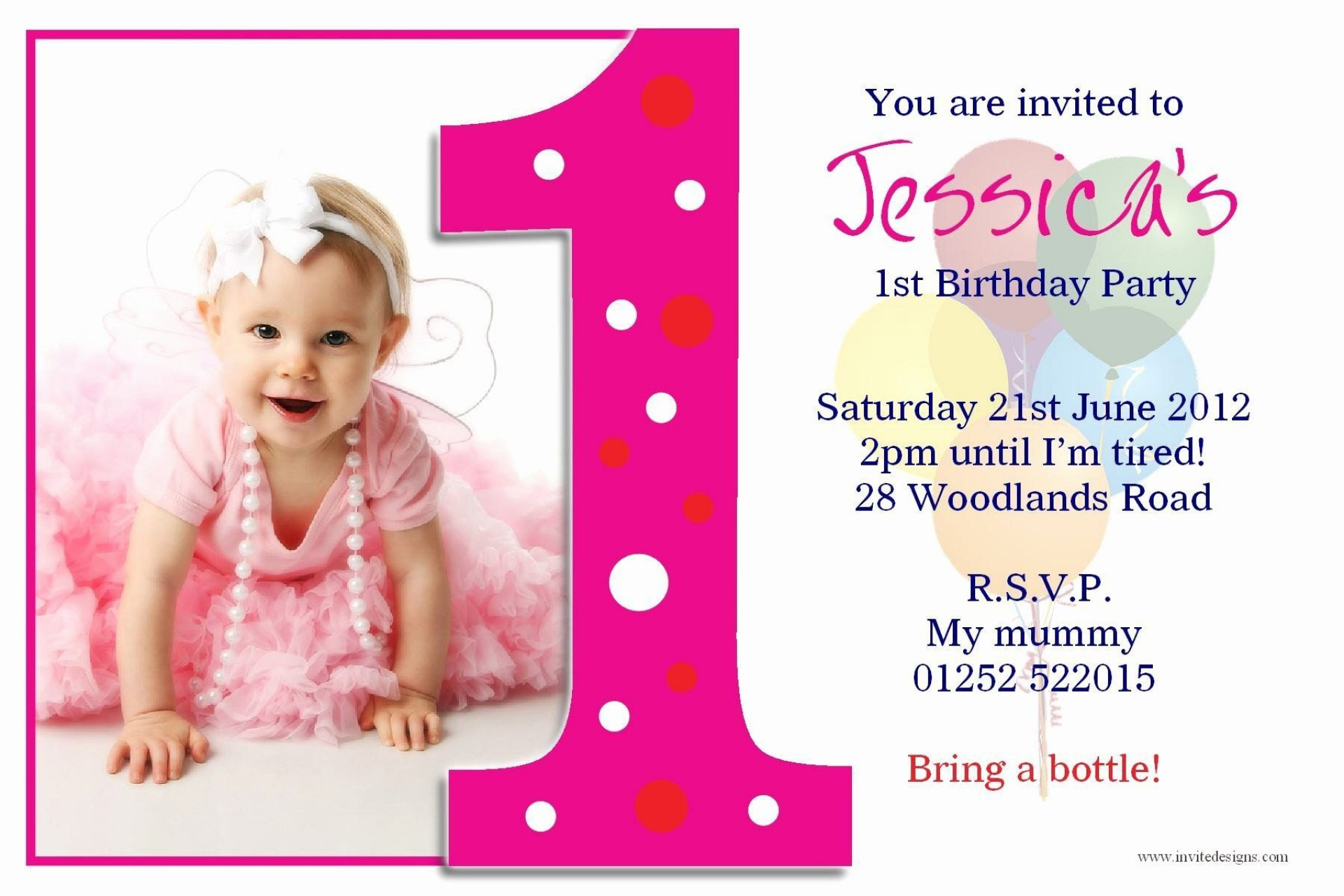 004 Fearsome Free Online 1st Birthday Invitation Card Maker For Twin Sample 1920