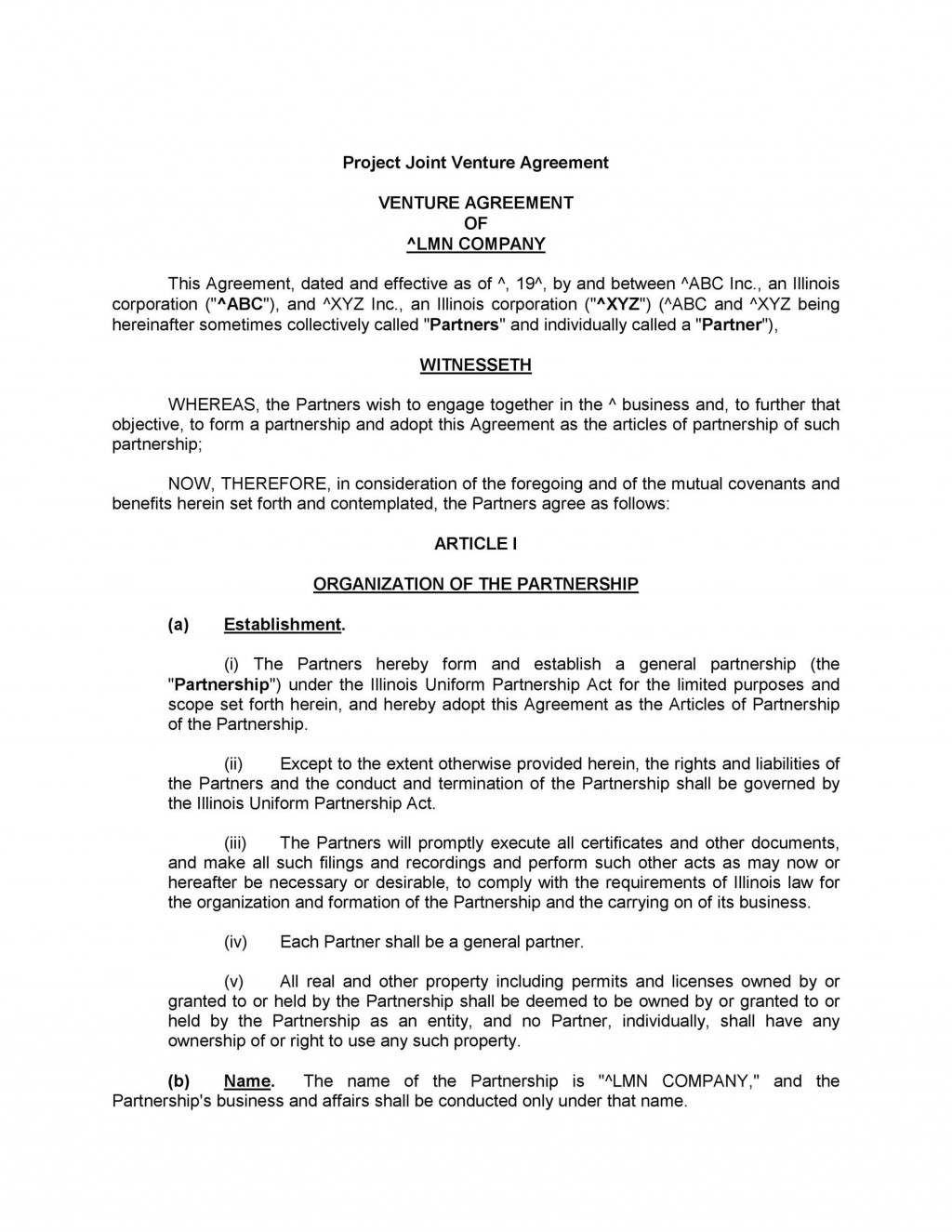 004 Fearsome General Partnership Agreement Template Canada Picture Large