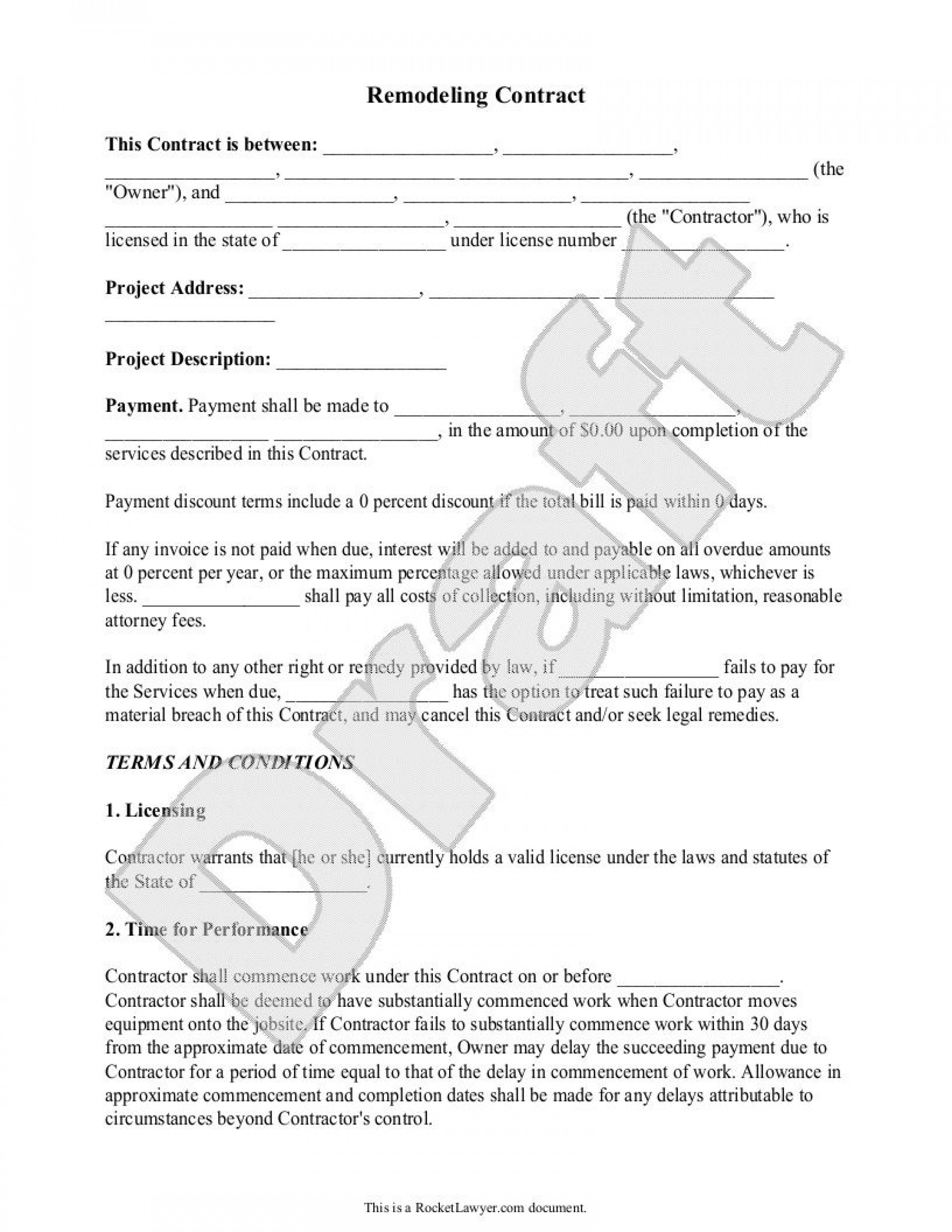 004 Fearsome Home Remodeling Contract Template Photo  Improvement Example Pdf Maryland1920