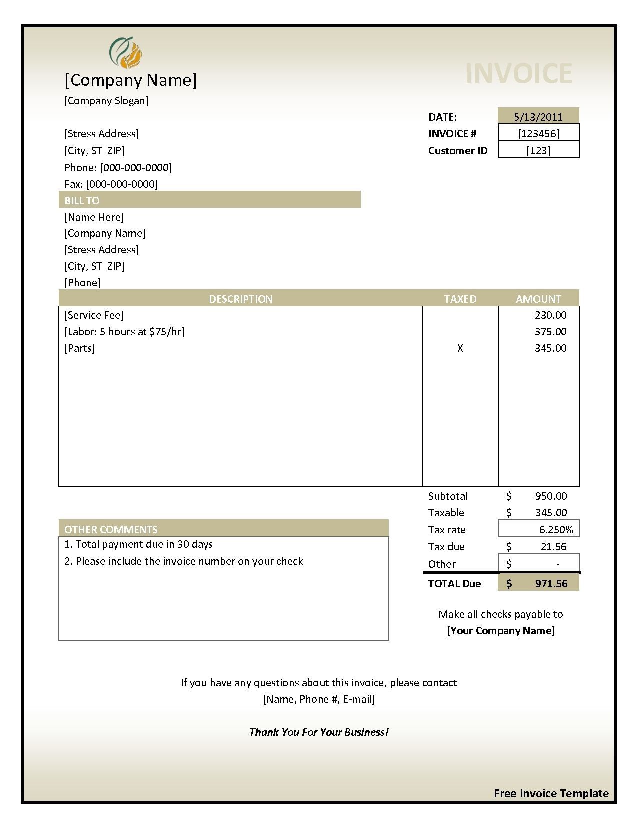 004 Fearsome Hotel Invoice Template Excel Free Download High Def Full