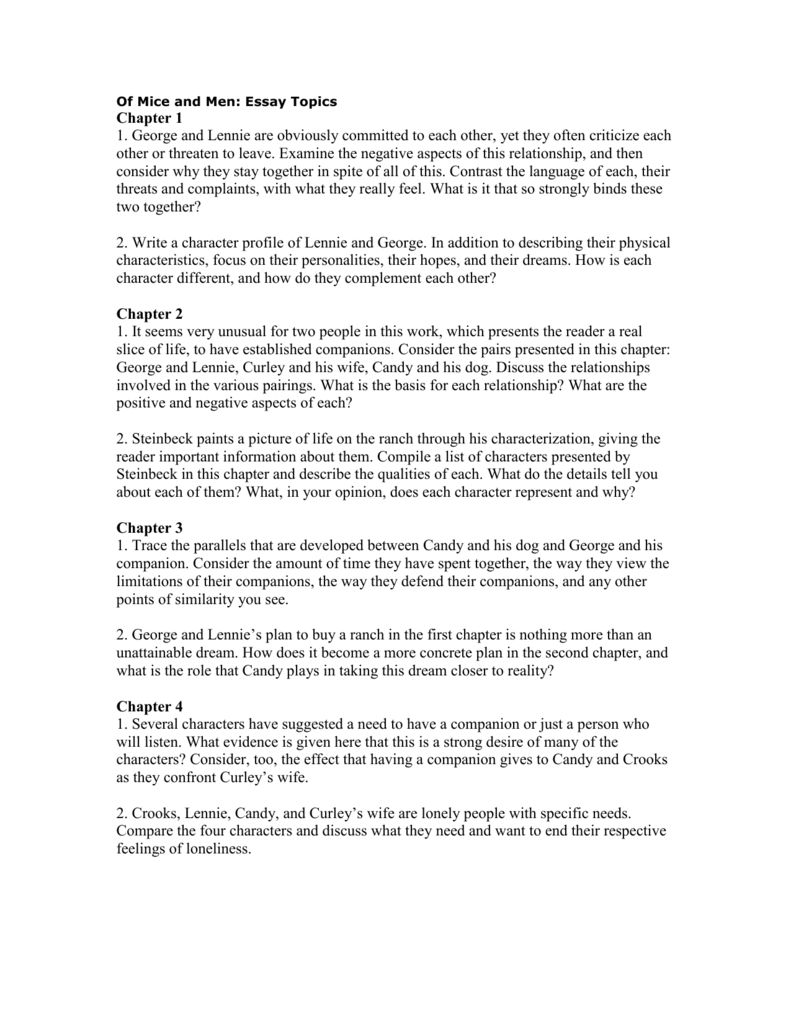 004 Fearsome Of Mice And Men Essay Concept  Prompt TopicFull