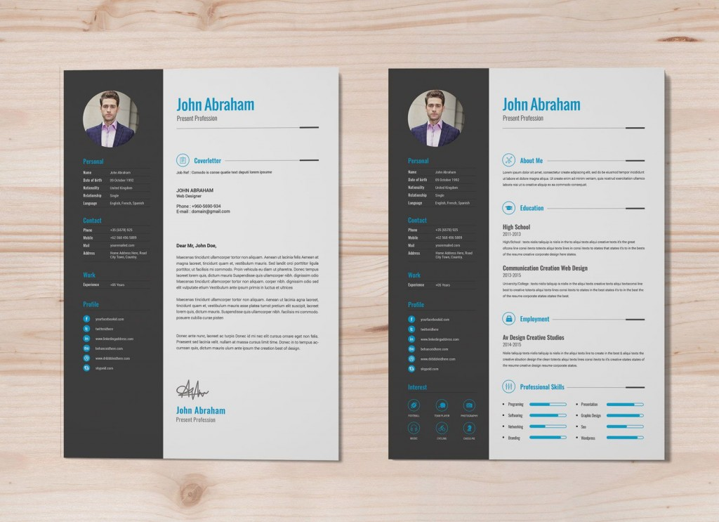 004 Fearsome Photoshop Cv Template Free Example  Modern Psd Resume DownloadLarge