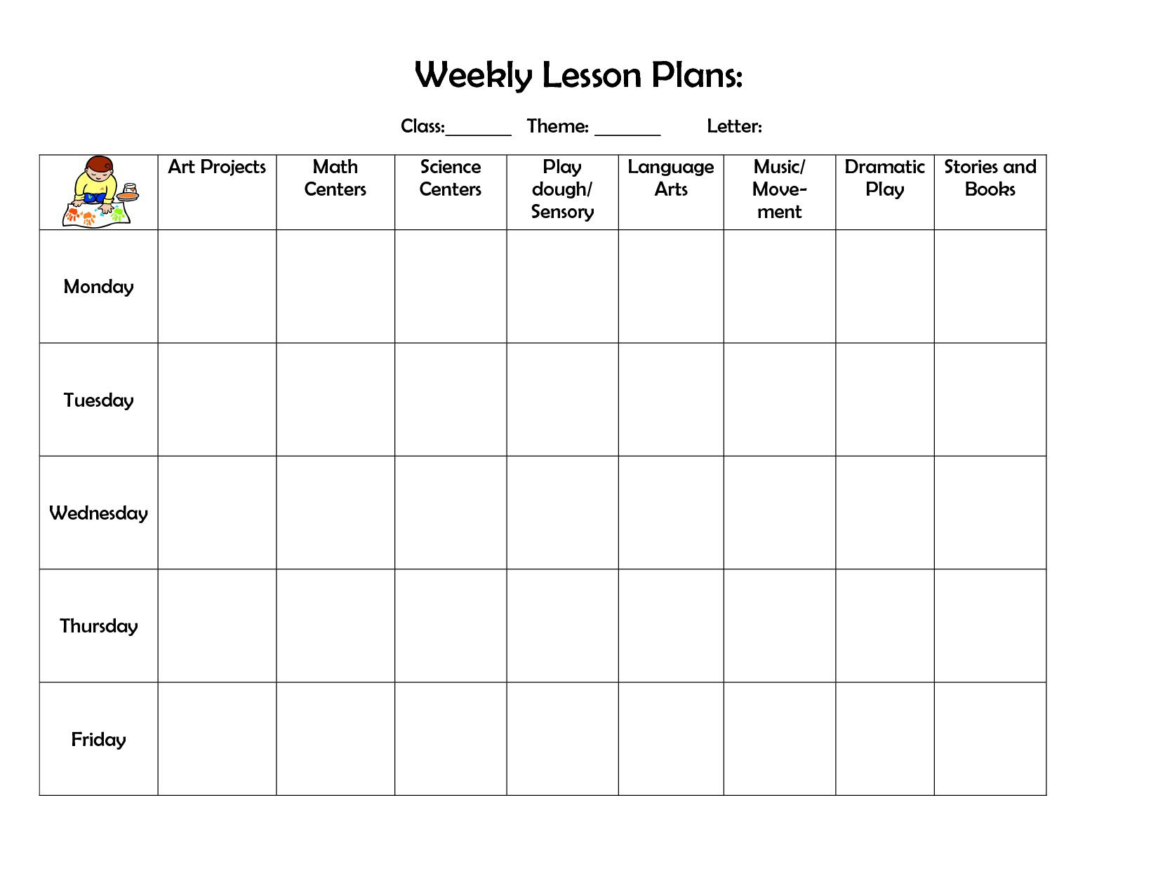 004 Fearsome Weekly Lesson Plan Template Highest Clarity  Preschool Google Doc EditableFull