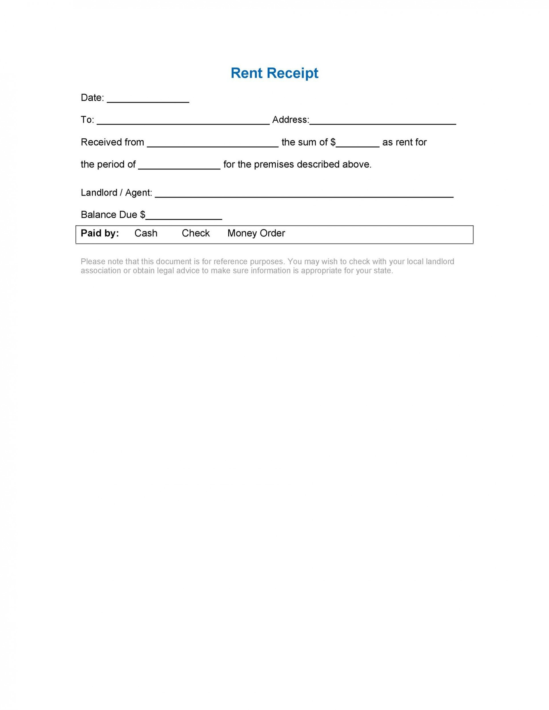 004 Formidable Rent Receipt Template Doc Idea  House Format Download Free1920