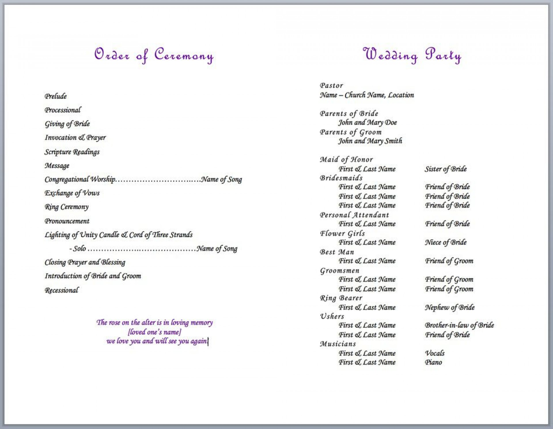 004 Formidable Wedding Party List Template Image  Printable Member1920