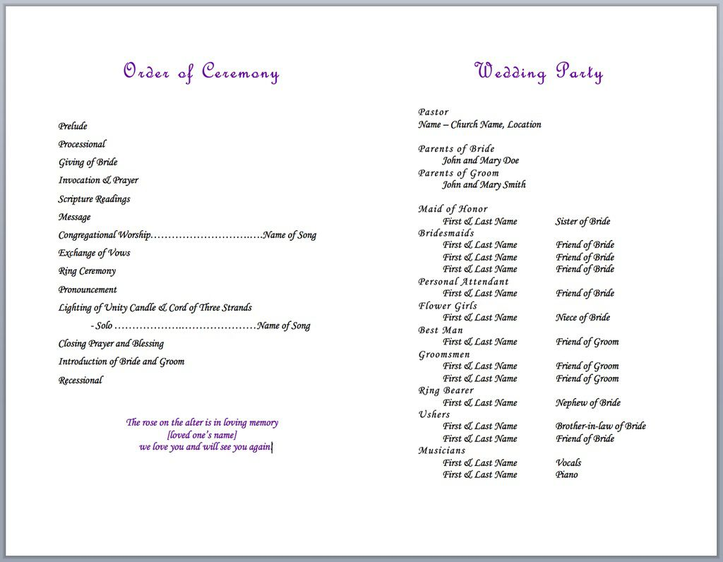 004 Formidable Wedding Party List Template Image  Printable MemberFull