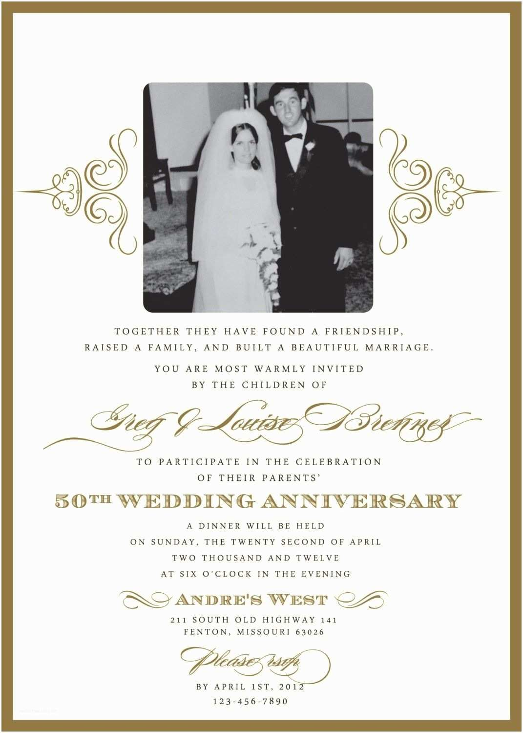 004 Frightening 50th Wedding Anniversary Invitation Template Design  Templates Golden Uk Free DownloadFull