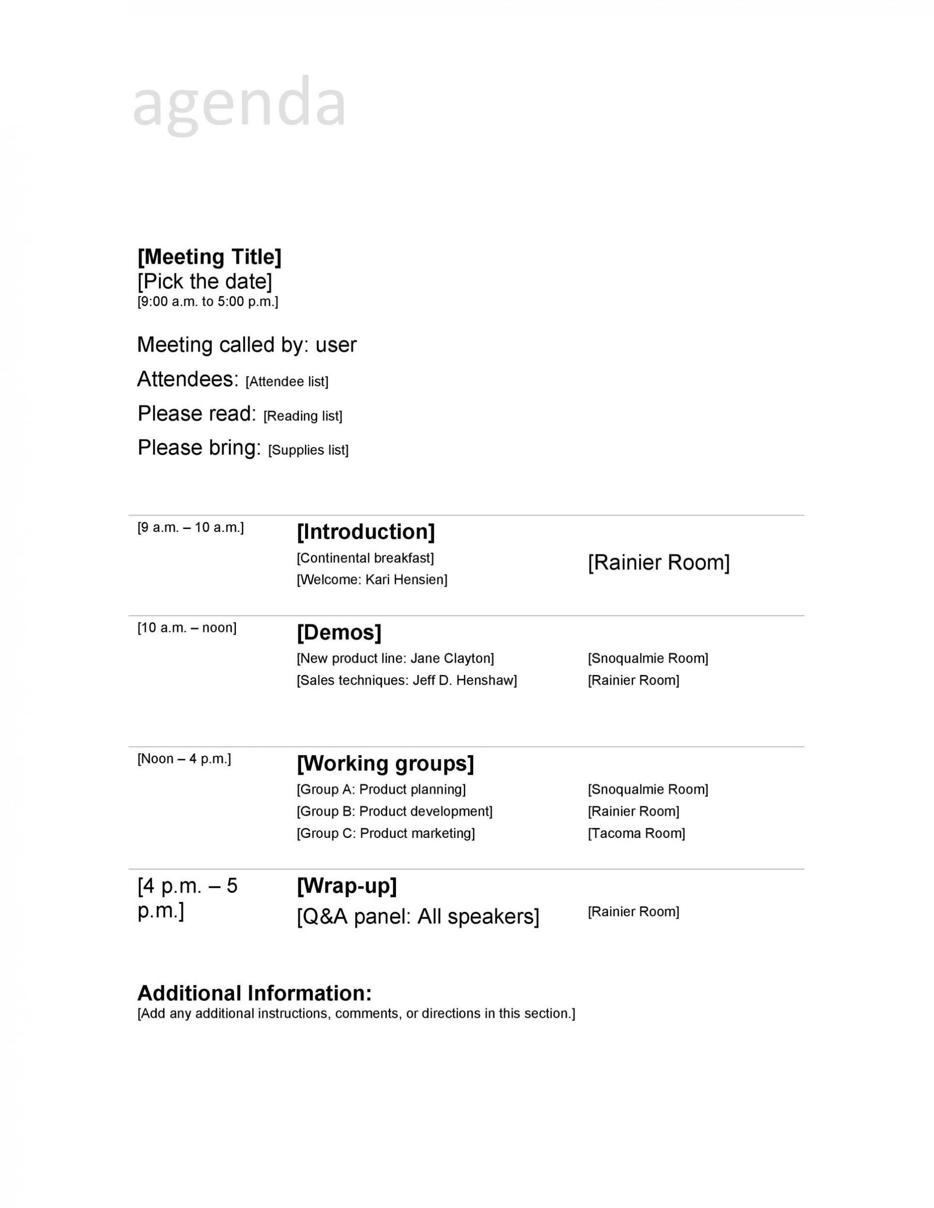 004 Frightening Formal Meeting Agenda Format Design  Example Template Ppt1920