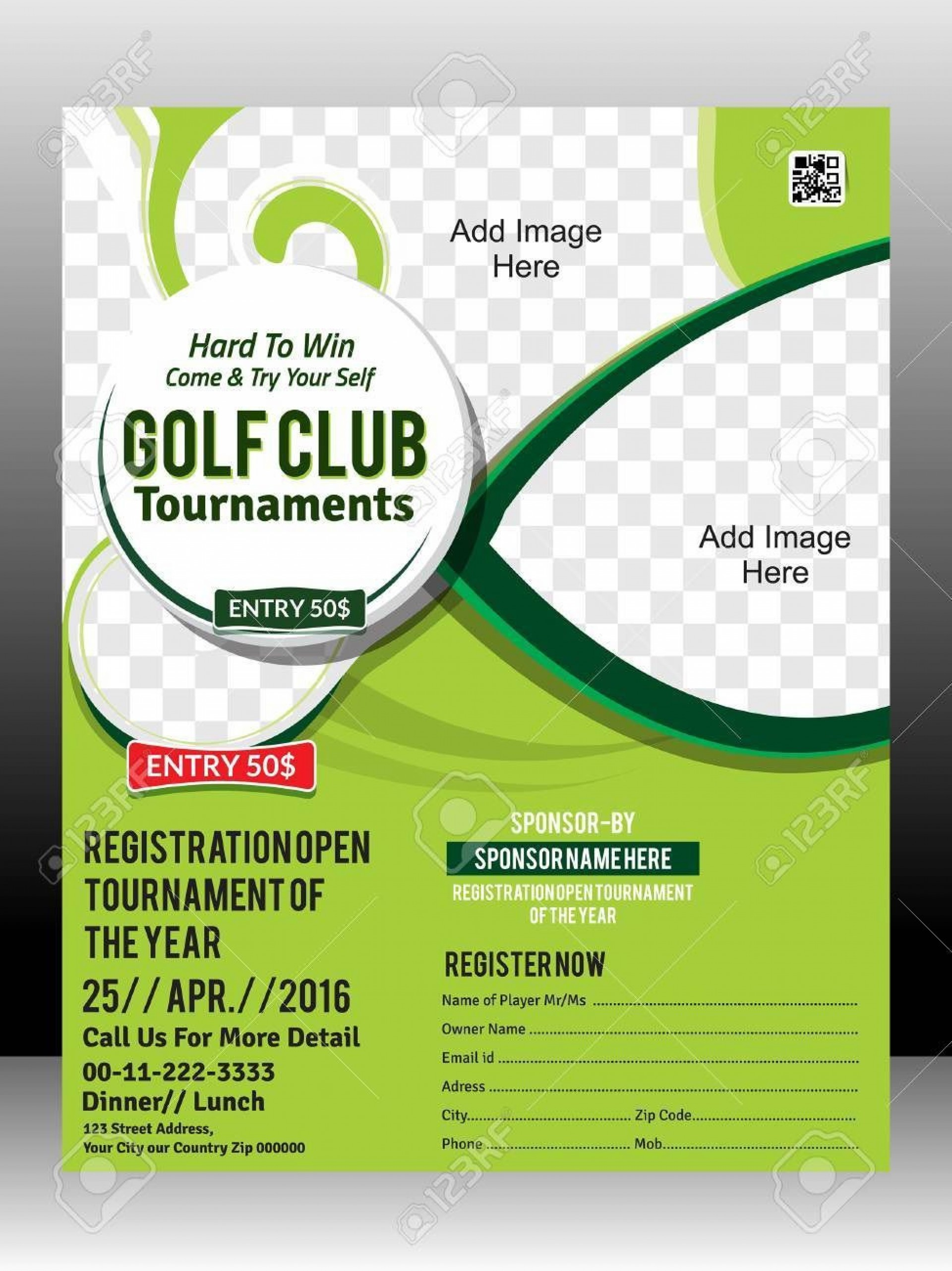 004 Frightening Golf Tournament Flyer Template Concept  Word Free Pdf1920