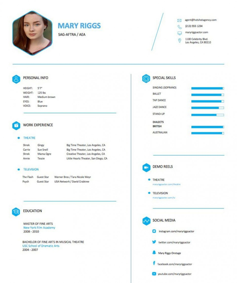 004 Frightening Musical Theater Resume Template Word High Definition  Theatre960