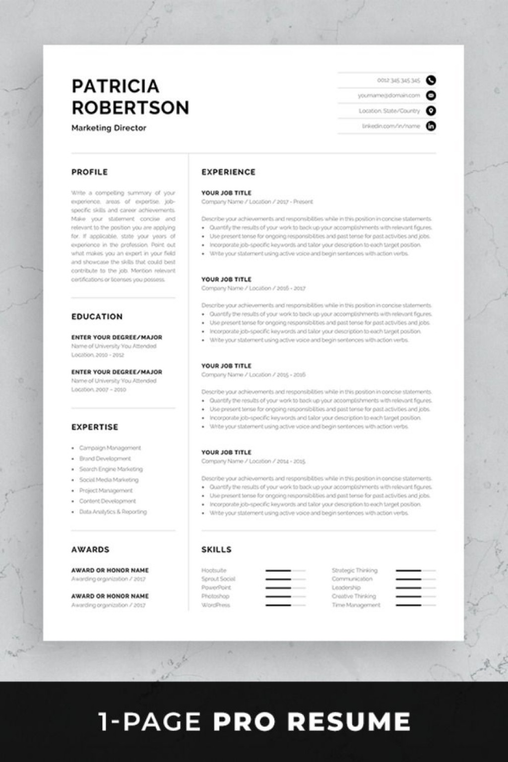 004 Frightening Single Page Resume Template Sample  Cascade One Free Download Word For FresherLarge