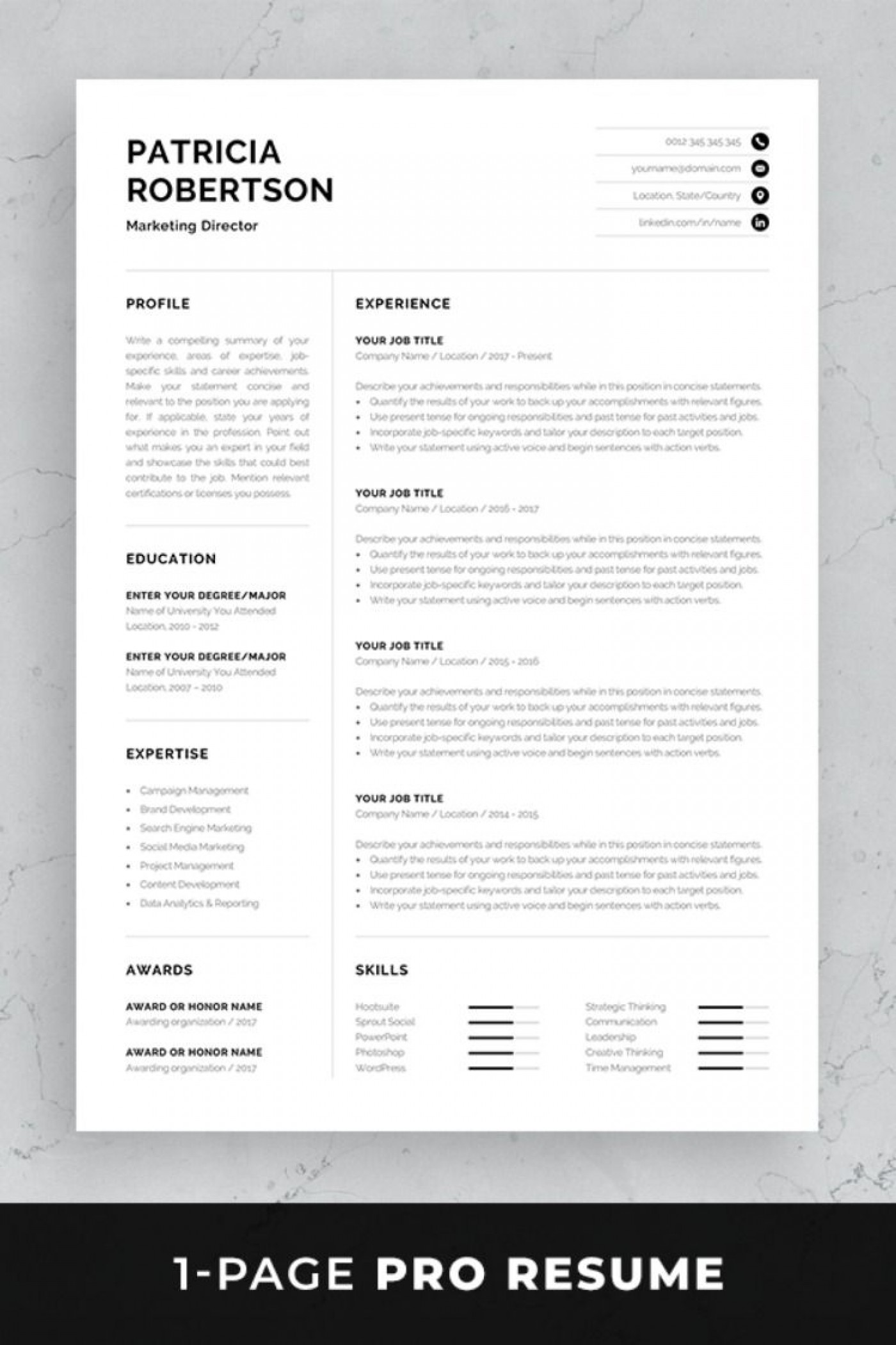 004 Frightening Single Page Resume Template Sample  Cascade One Free Download Word For Fresher1400
