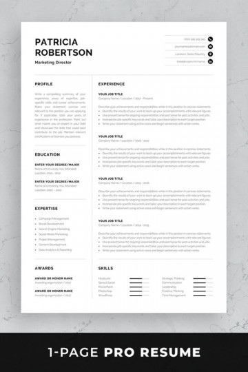 004 Frightening Single Page Resume Template Sample  Cascade One Free Download Word For Fresher360