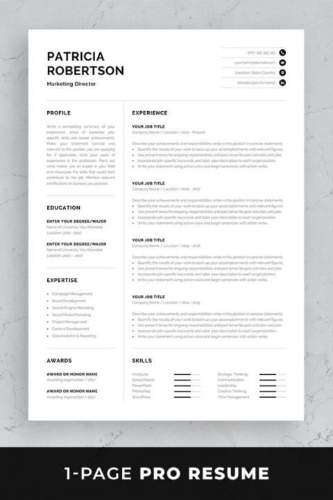 004 Frightening Single Page Resume Template Sample  Cascade One Free Download Word For Fresher480