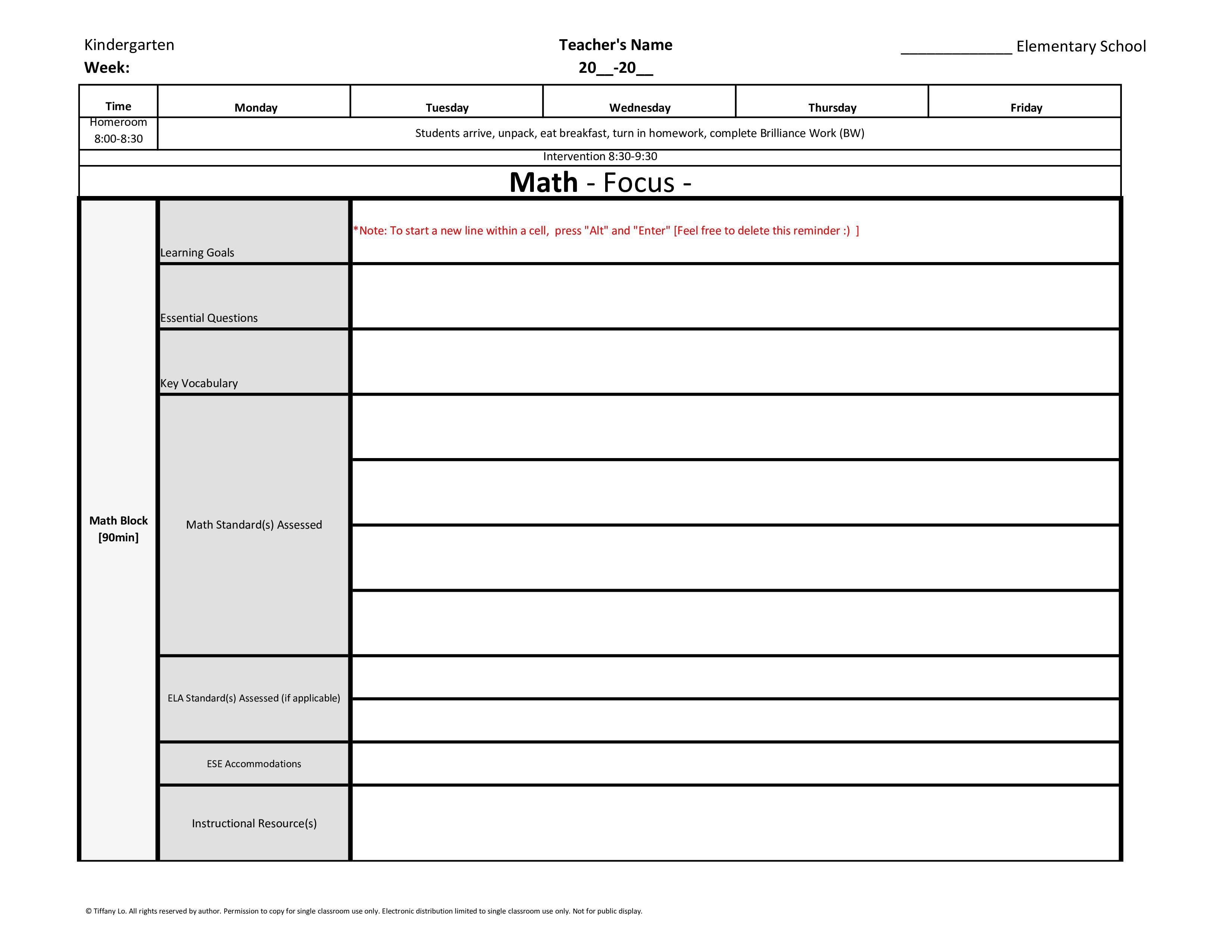 004 Frightening Weekly Lesson Plan Template Inspiration  Blank Free High School Danielson Google DocFull