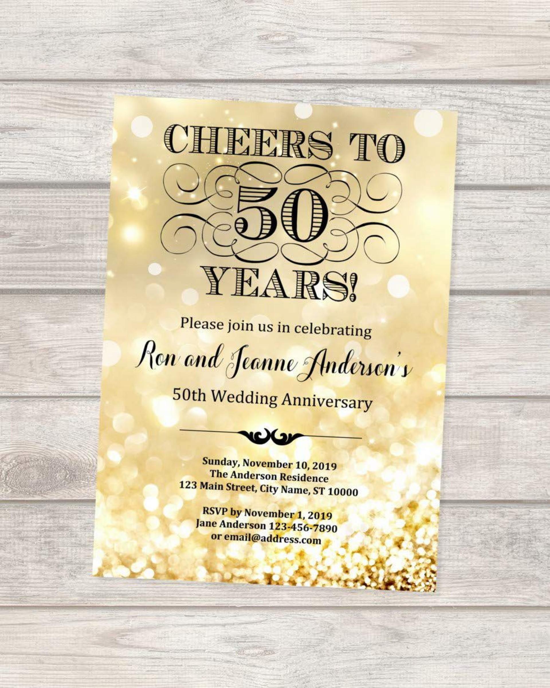 004 Imposing 50th Wedding Anniversary Invitation Design Sample  Designs Wording Card Template Free Download1920