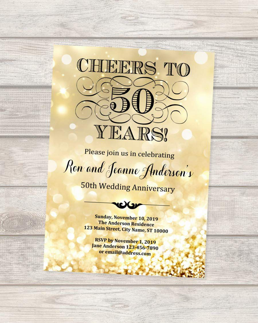 004 Imposing 50th Wedding Anniversary Invitation Design Sample  Designs Wording Card Template Free DownloadFull