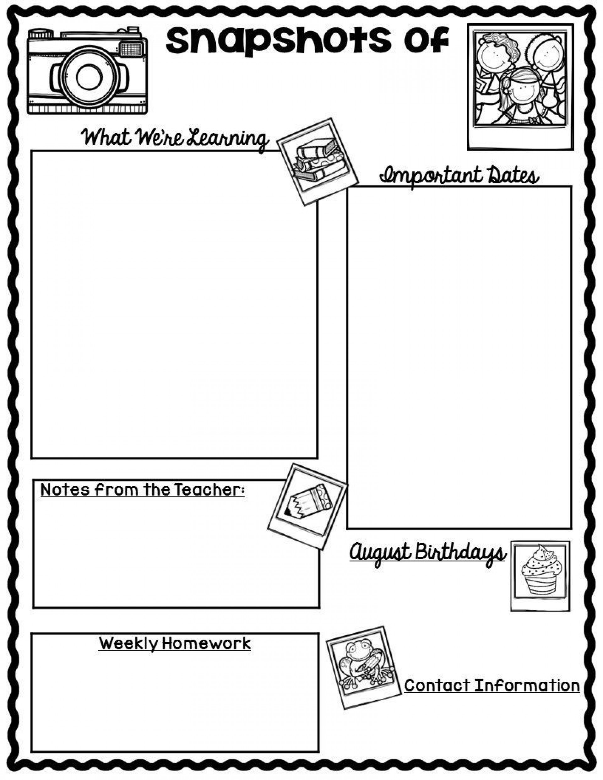 004 Imposing Free Newsletter Template For Teacher Example  Downloadable Editable Preschool1920