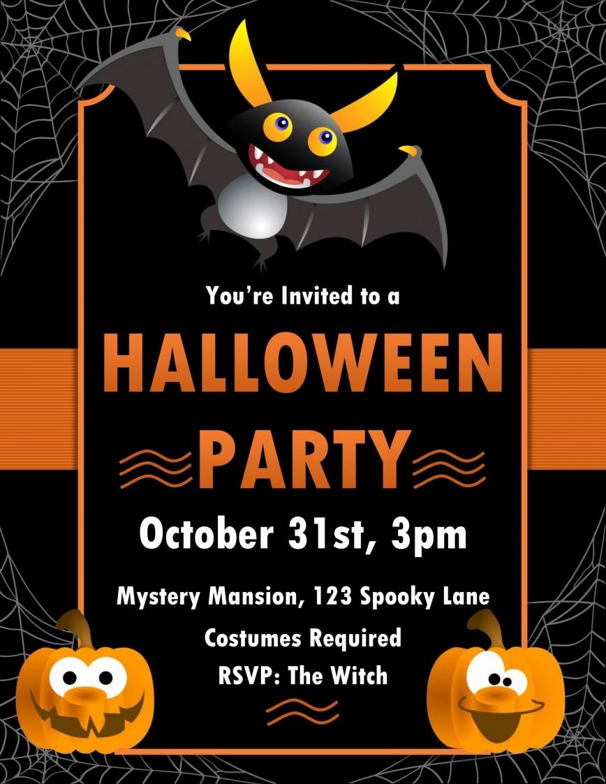 004 Imposing Halloween Invitation Template Microsoft Word Design  Birthday
