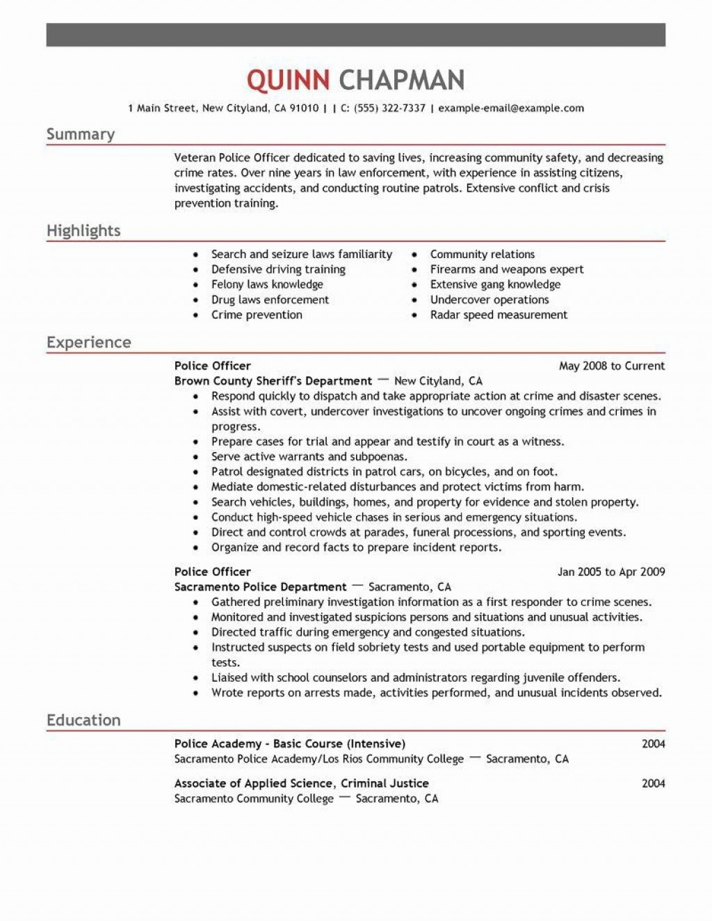 004 Imposing Law Enforcement Resume Template Concept  Federal PromotionLarge