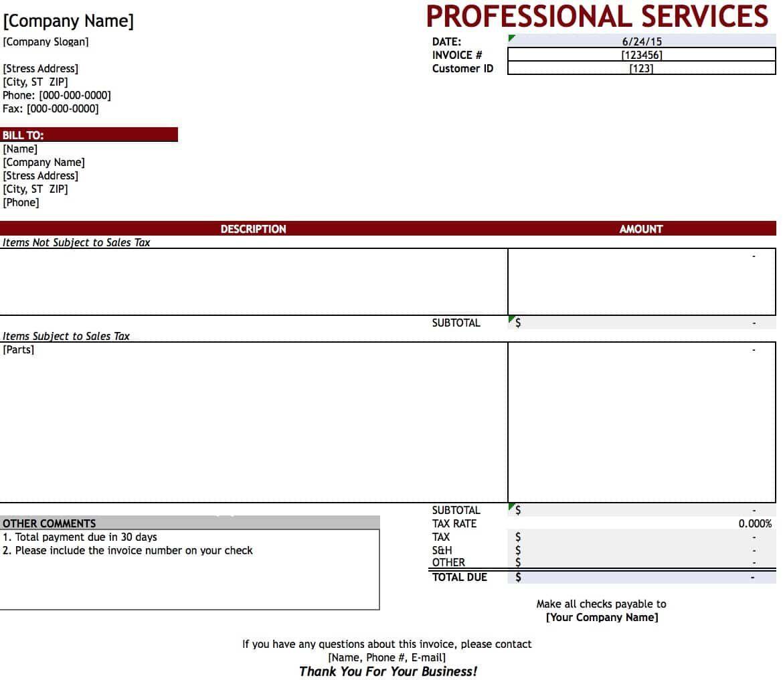 Professional Service Invoice Template Addictionary