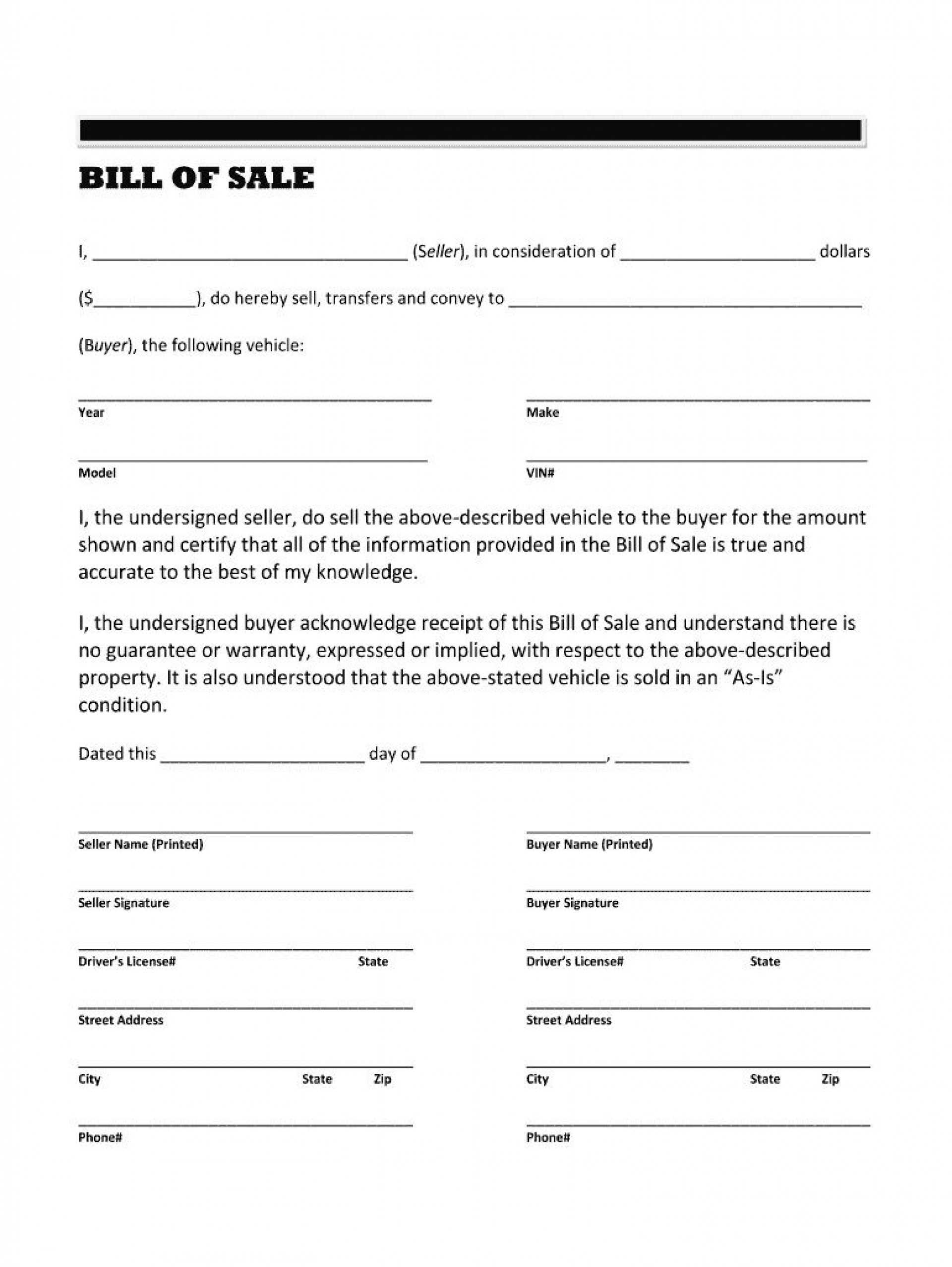 004 Imposing Template For Bill Of Sale High Resolution  Example Trailer Free Mobile Home Used Car1920