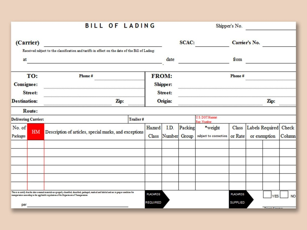 004 Impressive Bill Of Lading Template Microsoft Word High Resolution Large