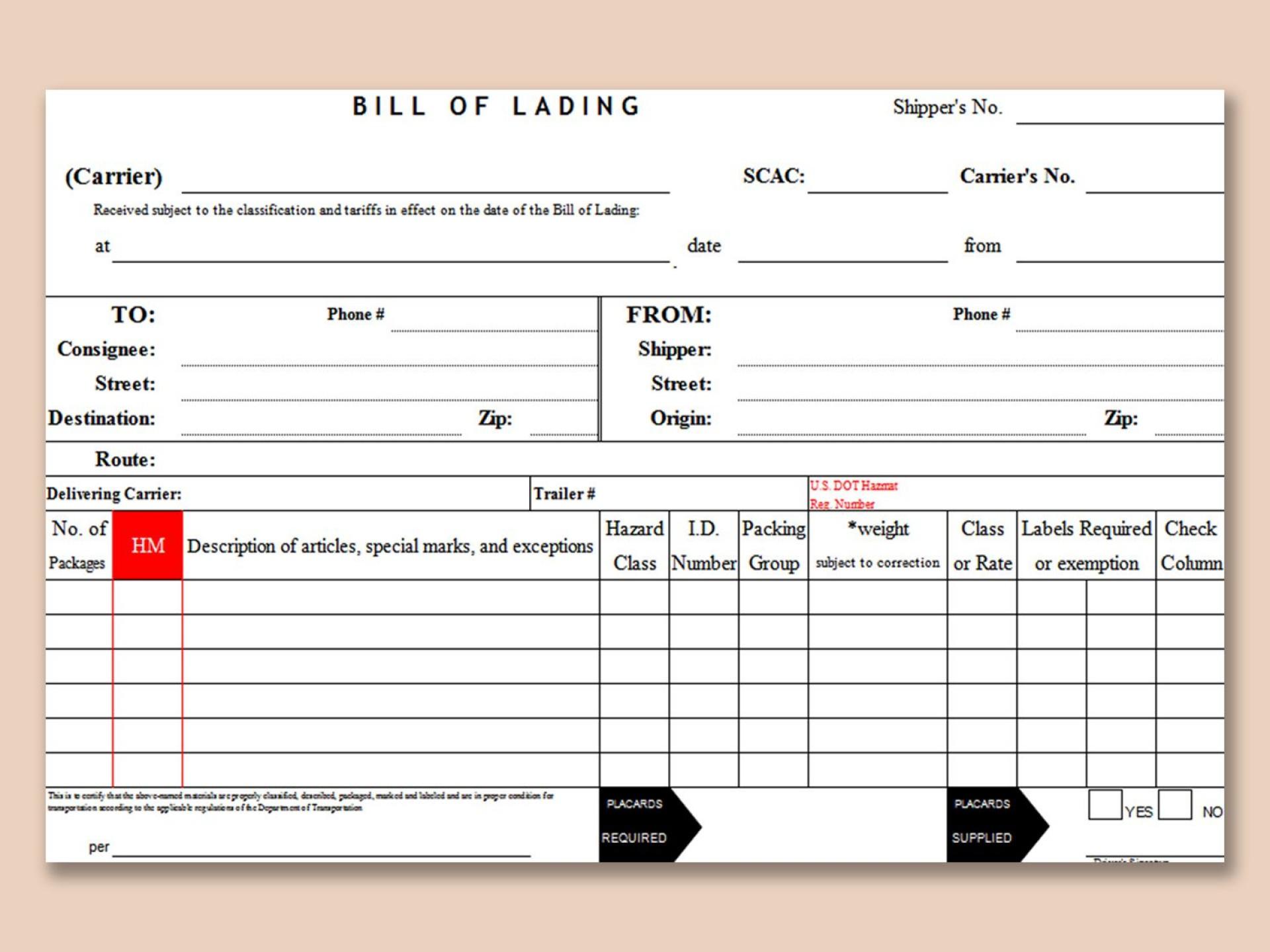 004 Impressive Bill Of Lading Template Microsoft Word High Resolution 1920