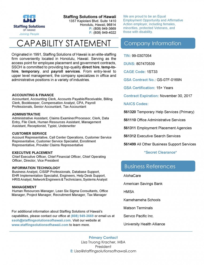 004 Impressive Capability Statement Template Free Image  Format Word Editable