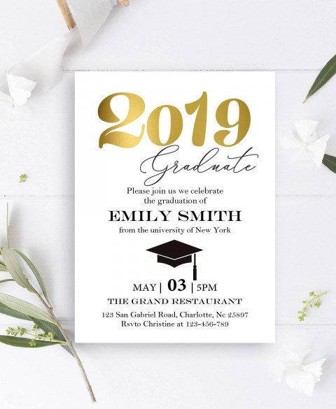 004 Impressive College Graduation Invitation Template Design  Party Free For Word480