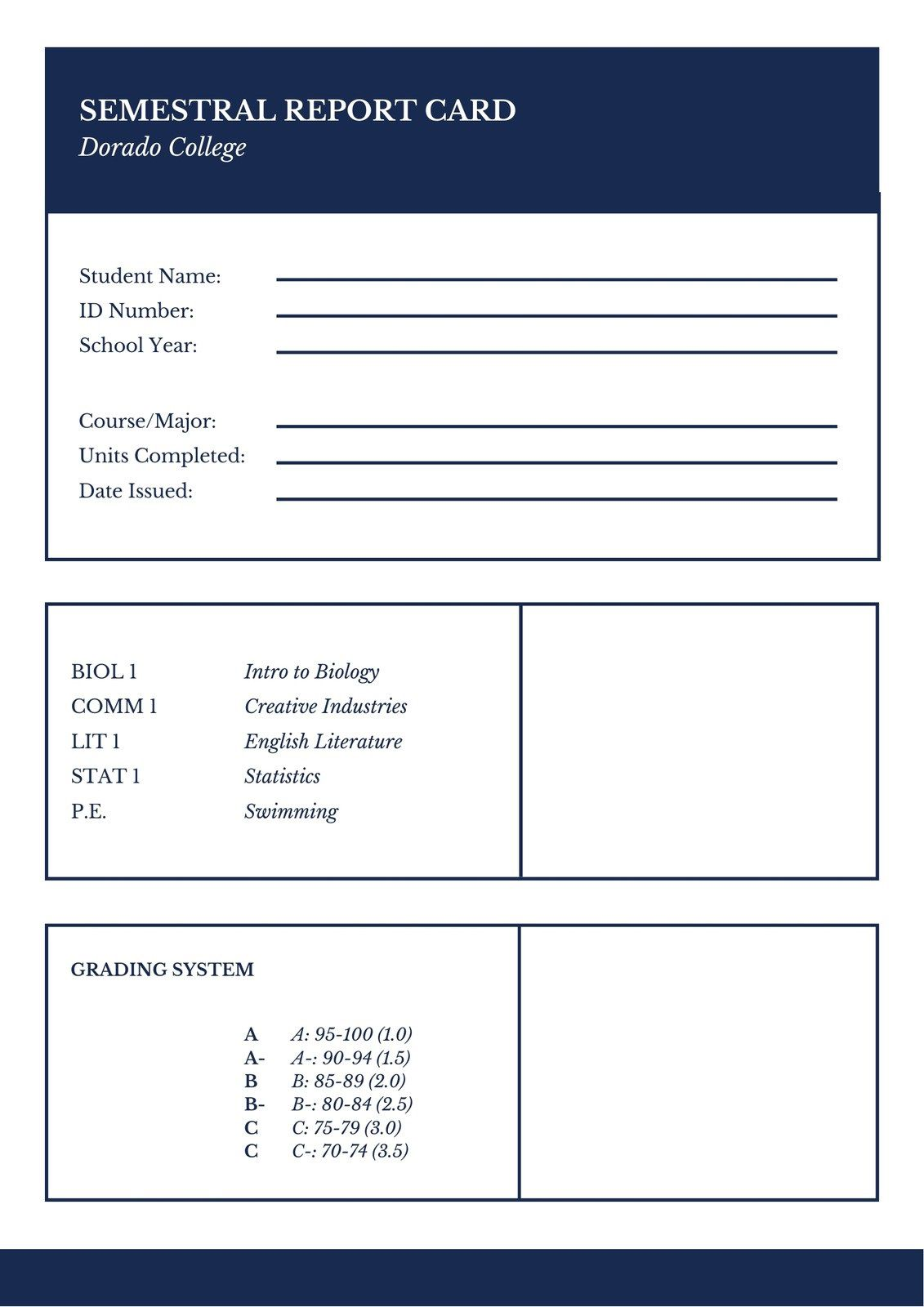 004 Impressive College Report Card Template Photo  Free FakeFull