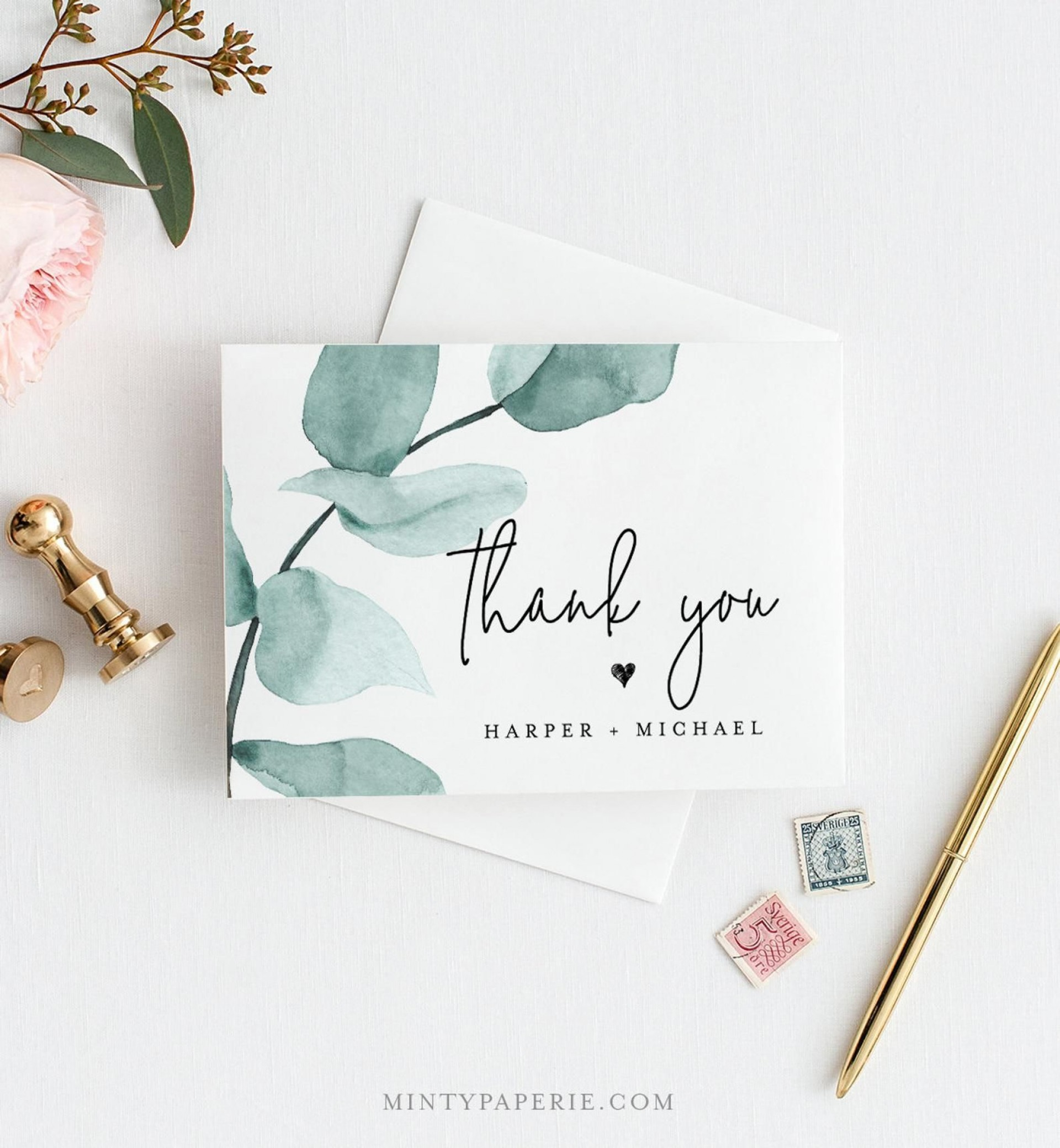 004 Impressive Diy Wedding Thank You Card Template Picture  Templates1920