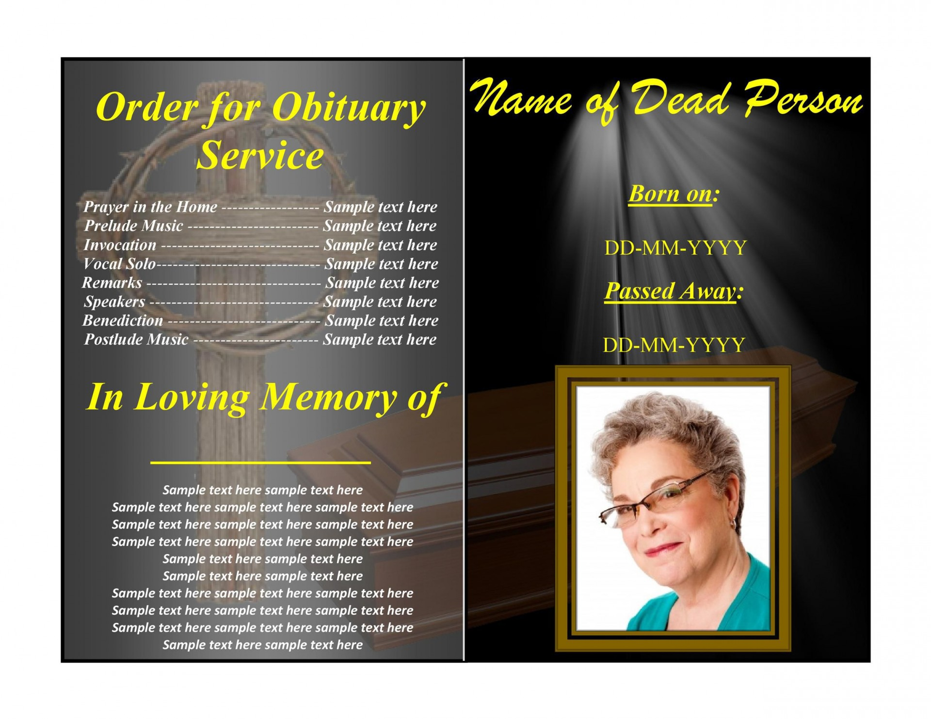 004 Impressive Example Funeral Programme Sample  Format Of Program Template Free To Download1920
