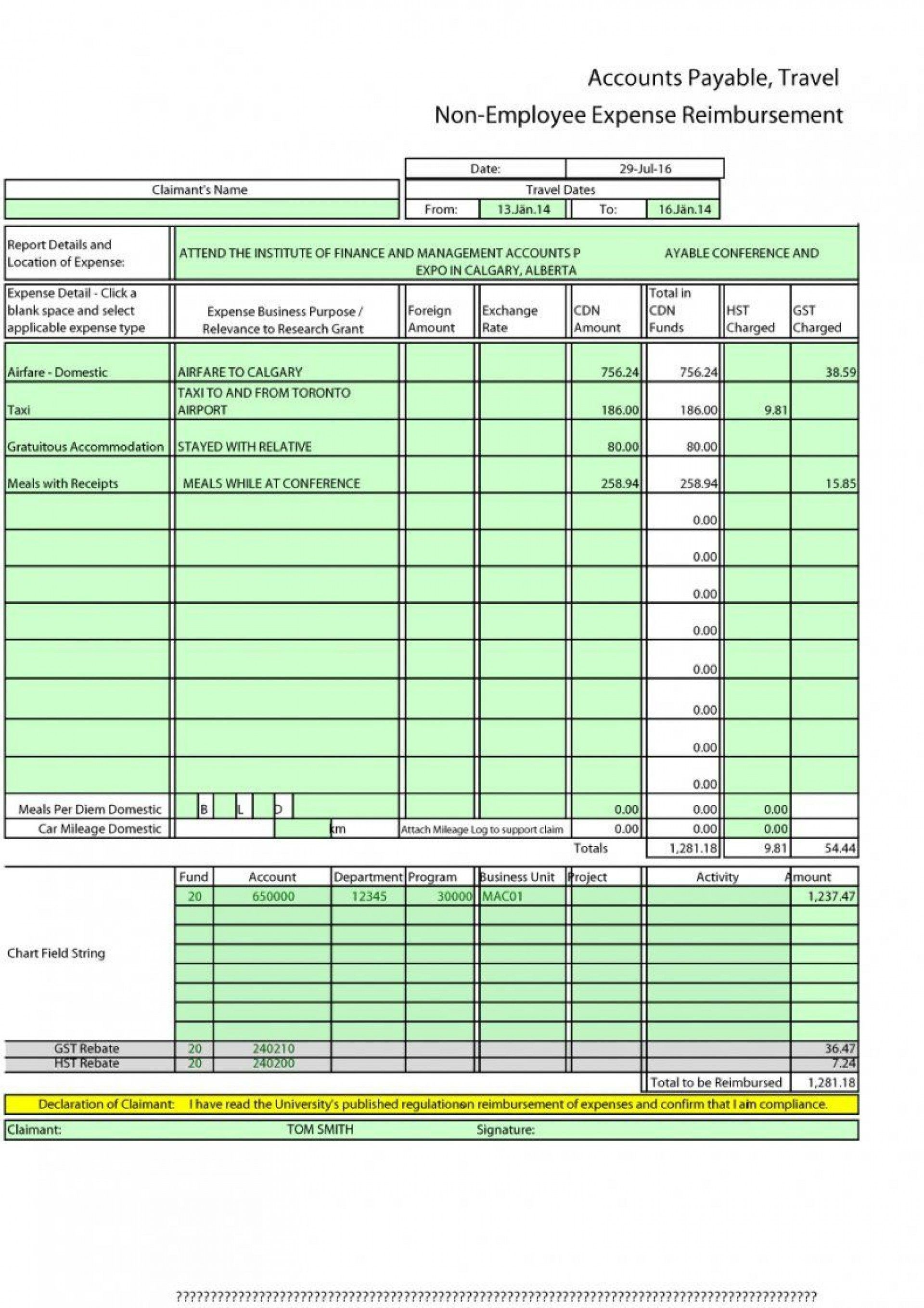 004 Impressive Free Expense Report Form Highest Clarity  Travel Pdf Blank Template Printable1920