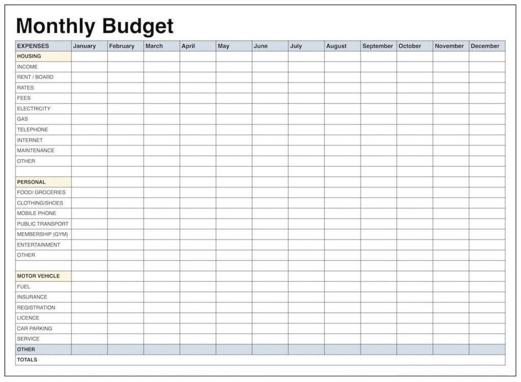 004 Impressive Free Printable Blank Monthly Budget Template Idea Large
