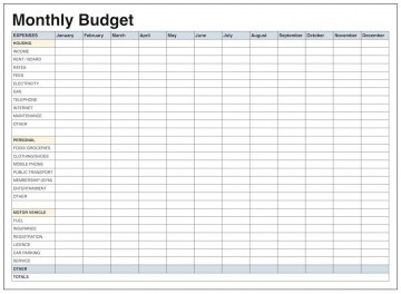 004 Impressive Free Printable Blank Monthly Budget Template Idea 360