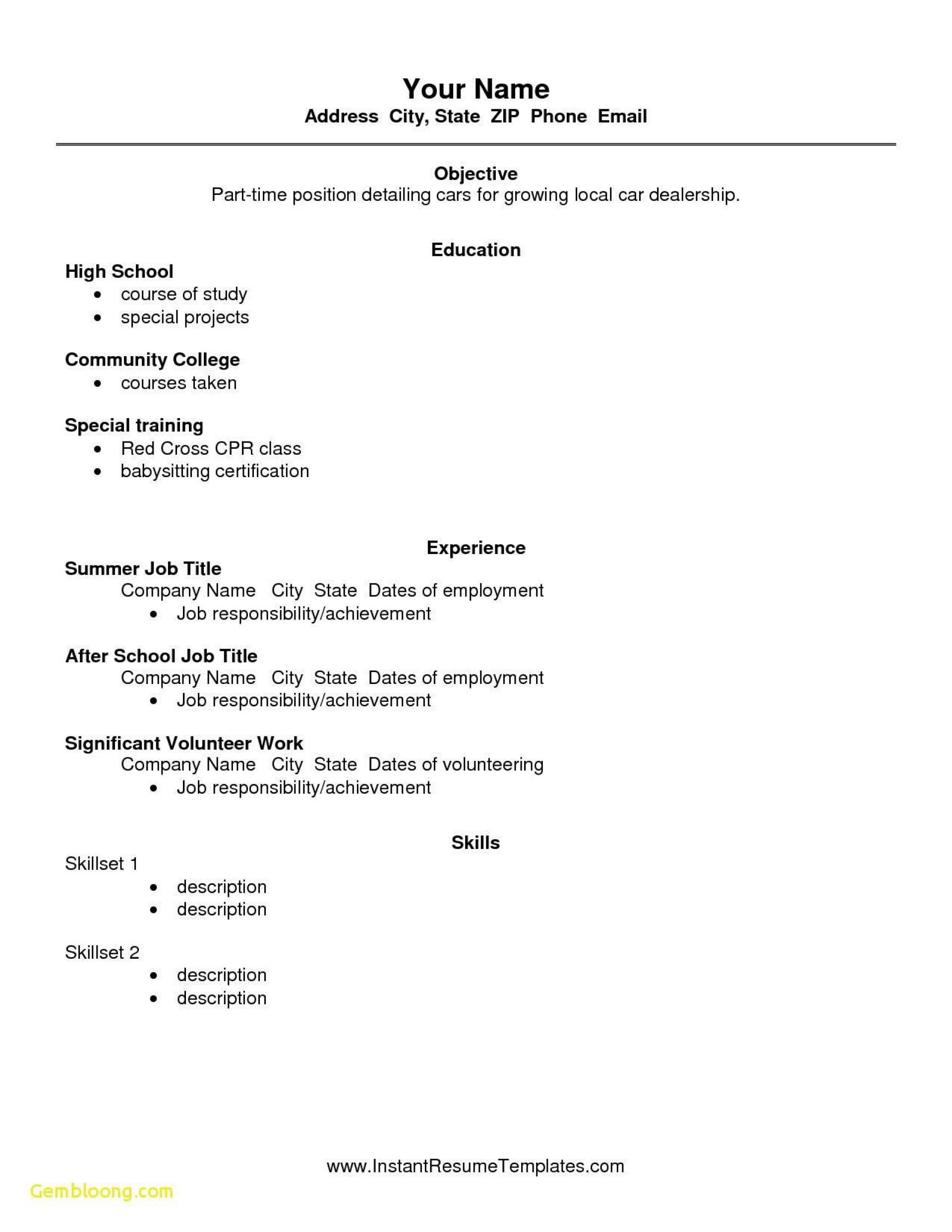 004 Impressive Free Sample High School Resume Template Concept 1920