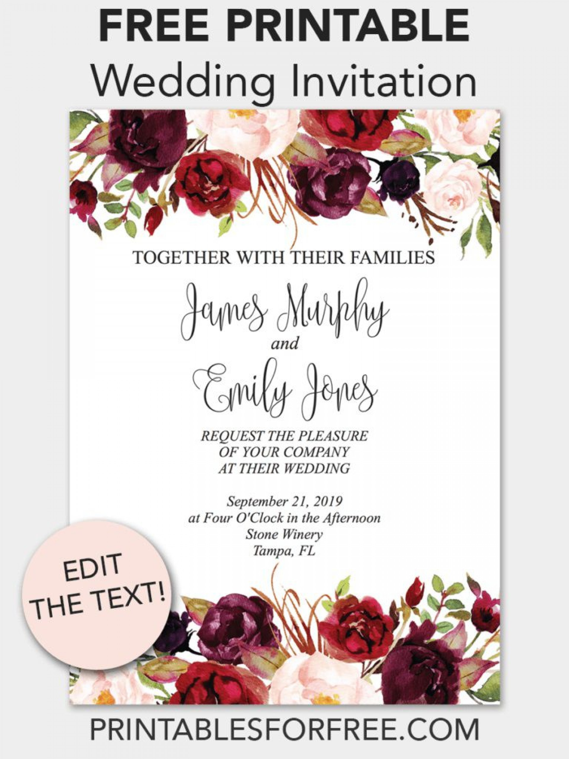 Free Wedding Invitation Printable Templates Addictionary