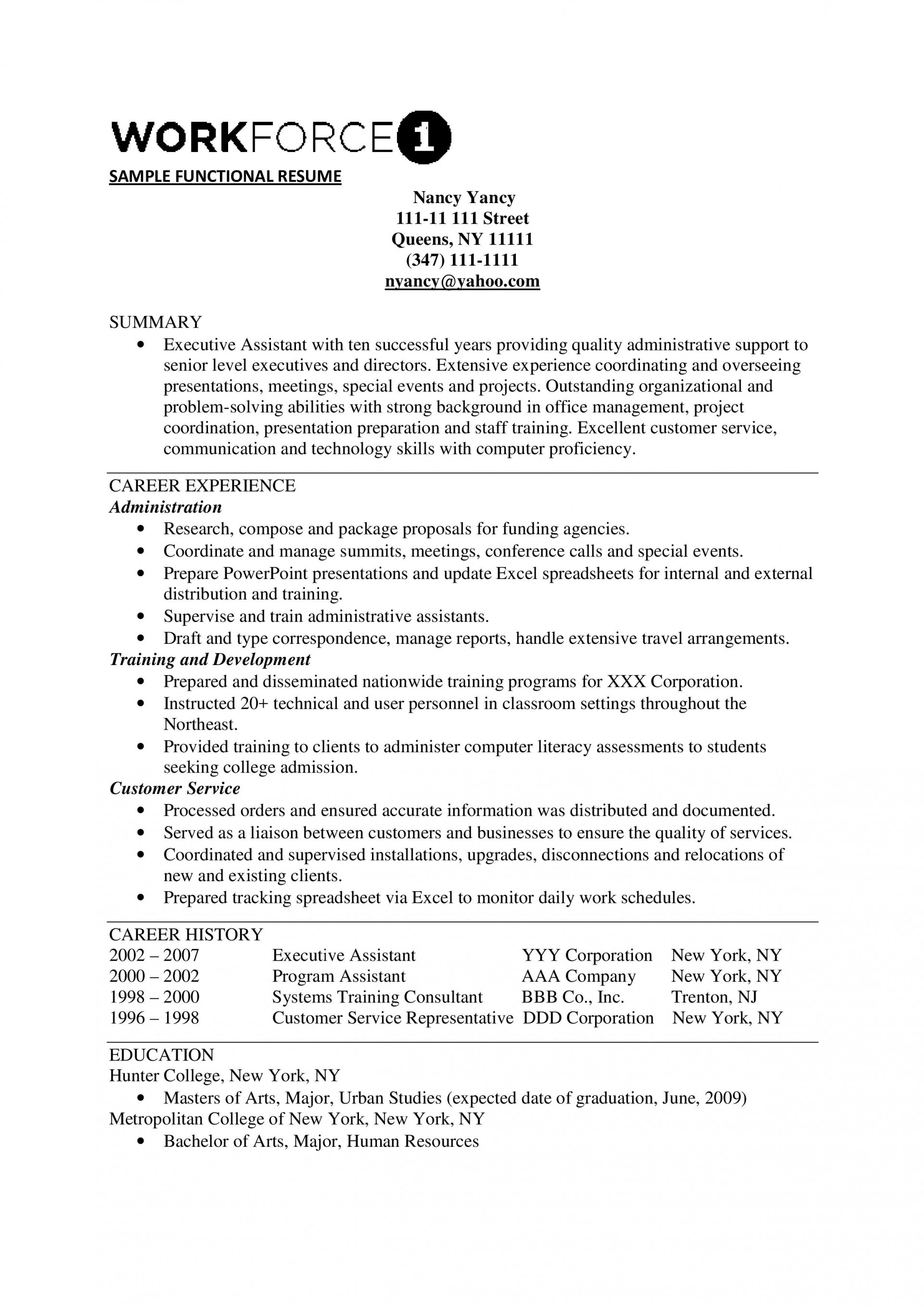 Functional Resume Template Free Addictionary
