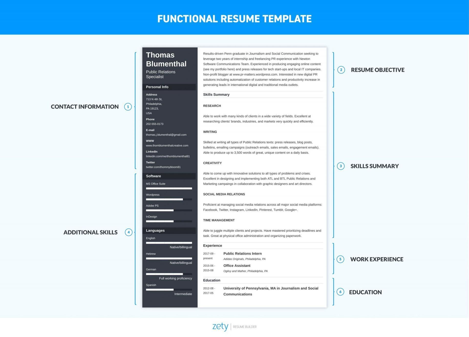 004 Impressive Functional Resume Template Free Example 1920
