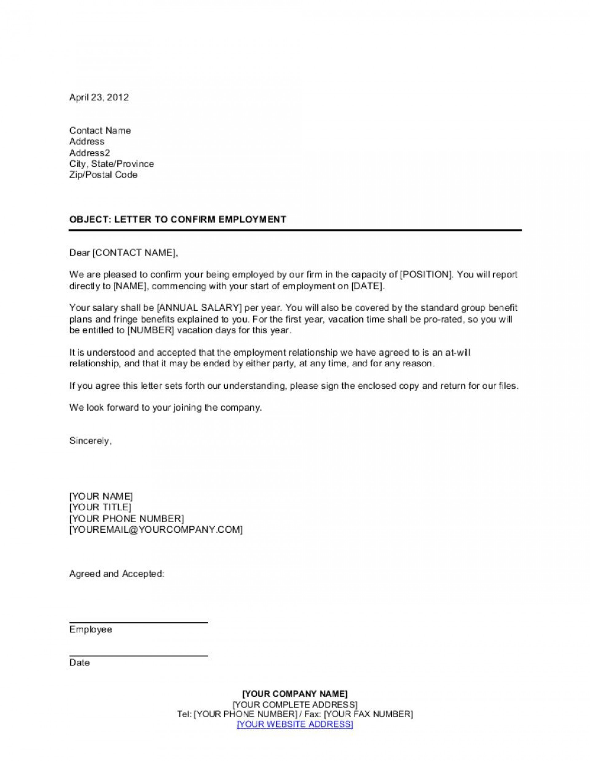 004 Impressive Letter Of Employment Template High Resolution  Confirmation Canada For Mortgage1920
