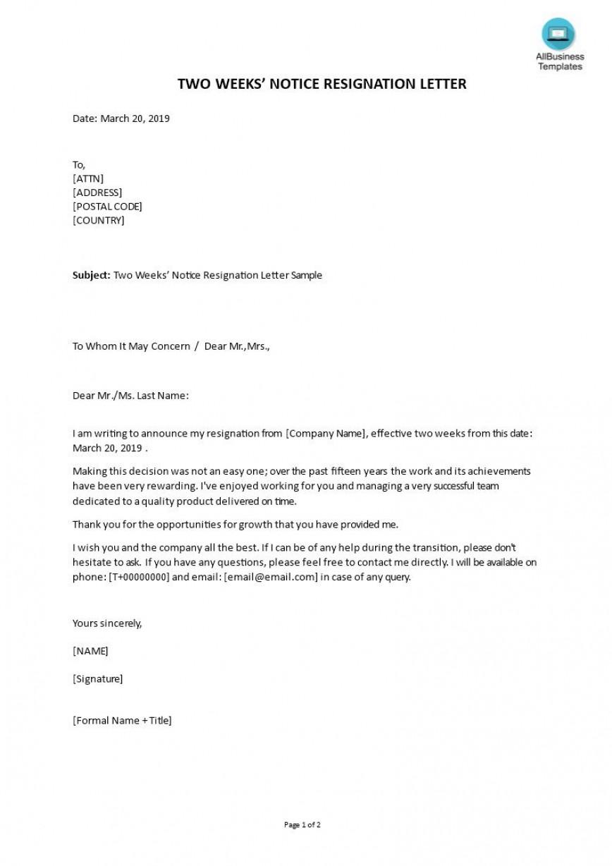 004 Impressive Letter Of Resignation Template Free Image  Sample Uk Printable