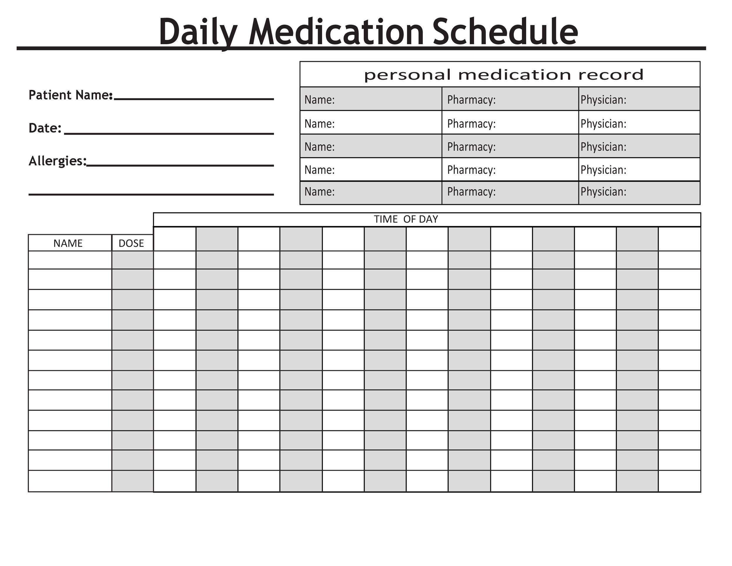 004 Impressive Monthly Medication Administration Record Template Excel Sample Full