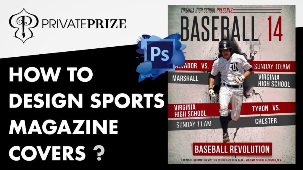 004 Impressive Photoshop Baseball Magazine Cover Template Concept Large